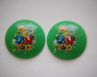 Vintage Green Floral Domed Cabochons 28mm (2) cab760N