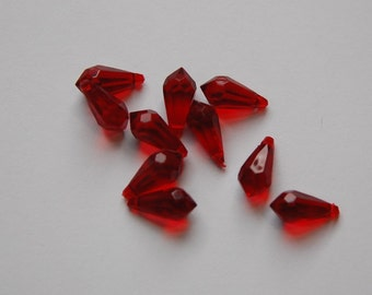 Ruby Red Faceted Teardrop Drops pnd130C