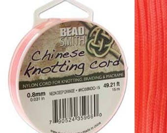Neon Deep Orange Chinese Knotting Cord (.8mm/.031in) 15m/16.4yds
