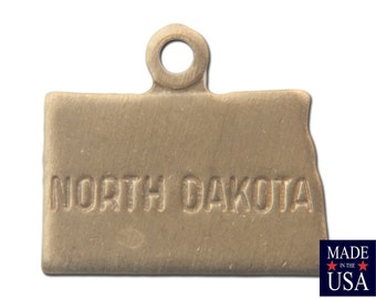 Raw Brass Tiny North Dakota State Charm Drops 11x9mm (6) chr201ZZ