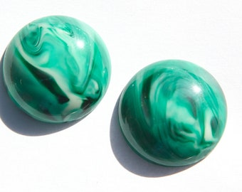 Vintage Green and White Marbled Acrylic Cabochons 24mm cab822D