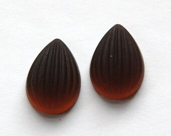 Matte Smoke Topaz Ribbed Melon Glass Pear Cabochons 18mm x 13mm cab450F