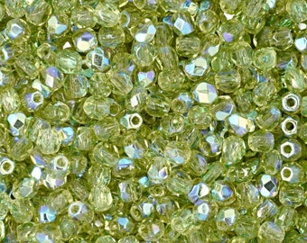 Czech Faceted Olivine AB Fire Polish Glass Beads 3mm (50)