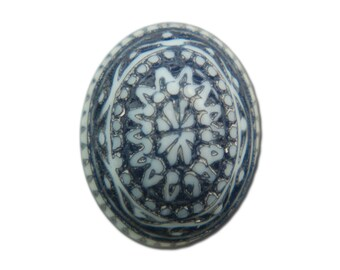 Vintage Mosaic Blue and White Cabochons 10x8mm (8) cab714P
