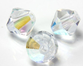 Czech Faceted Crystal AB Bicone Glass Beads 4mm (50) CZH-00041A