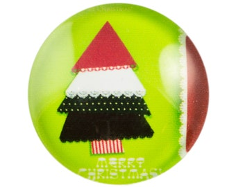 Merry Christmas Lace Tree Glass Cabochon 15mm (4) cab875B