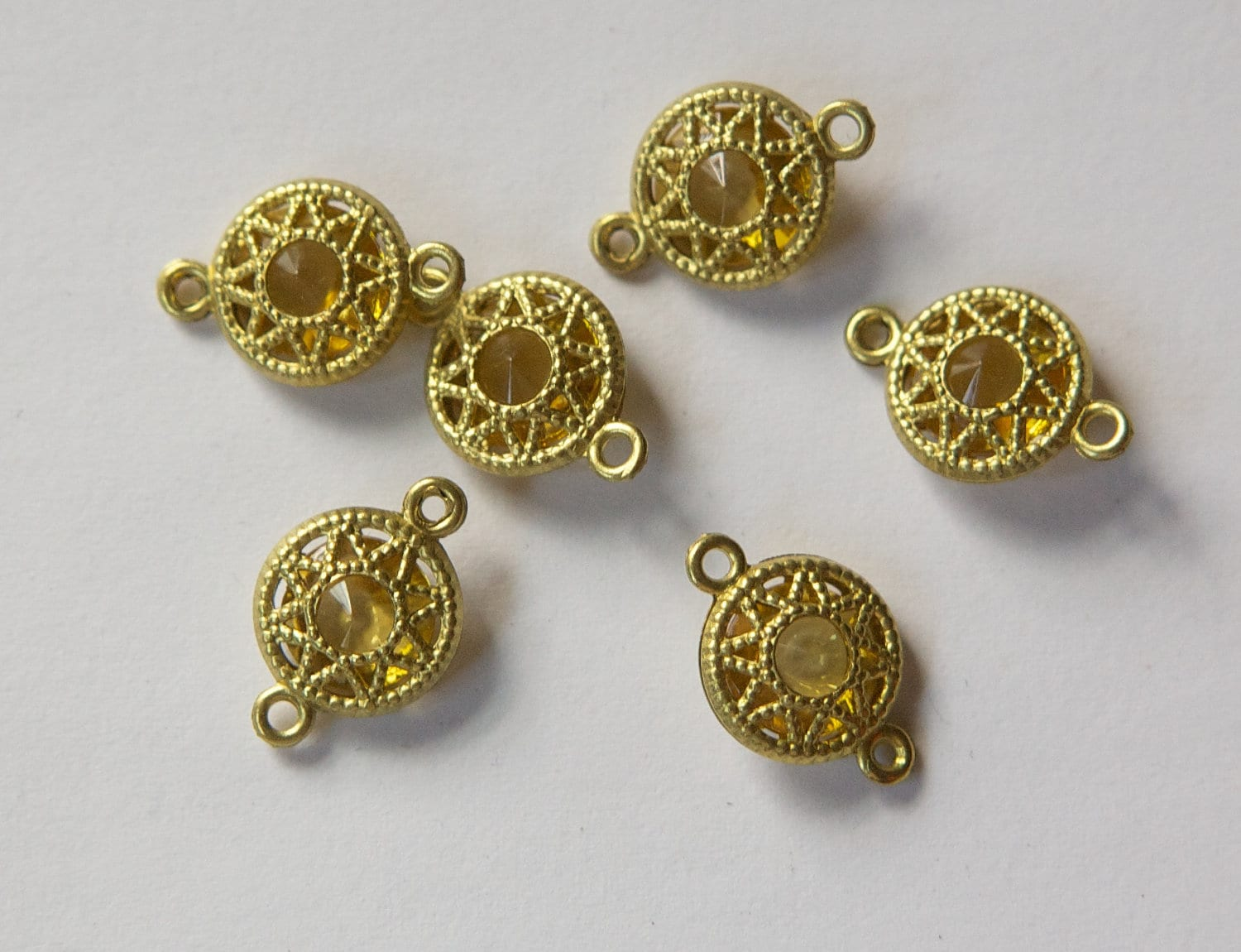 Vintage Light Topaz Connector Beads with Neat Brass Frames 10mm (6 ...