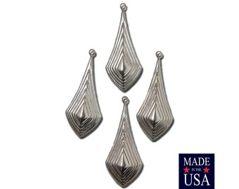 Silver Plated Raised Ribbed Pointed Pendant Drop (4) mtl065P