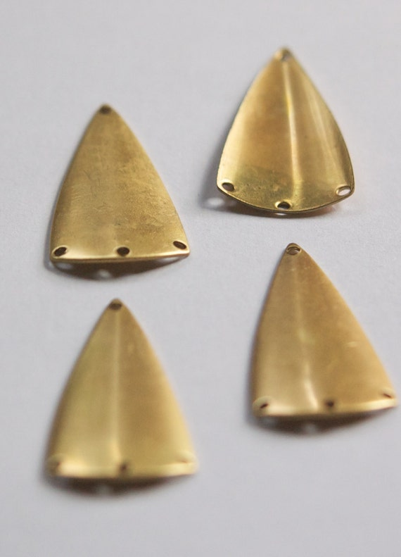 4 4 Hole Raw Brass Dapped Triangle Connector Pendant mtl174