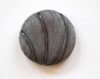 Large Vintage Faux Grass Fiber Dark Gray Detailed Plastic Button LG btn021E