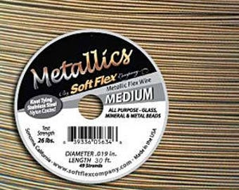Antique Brass Color Soft Flex Metallics Beading Wire 0.019in/.48mm  30ft  MEDIUM