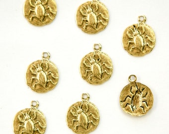 Antiqued Gold Plated Beetle Charm Drops with Loop (8) chr051P DISCONTINUED