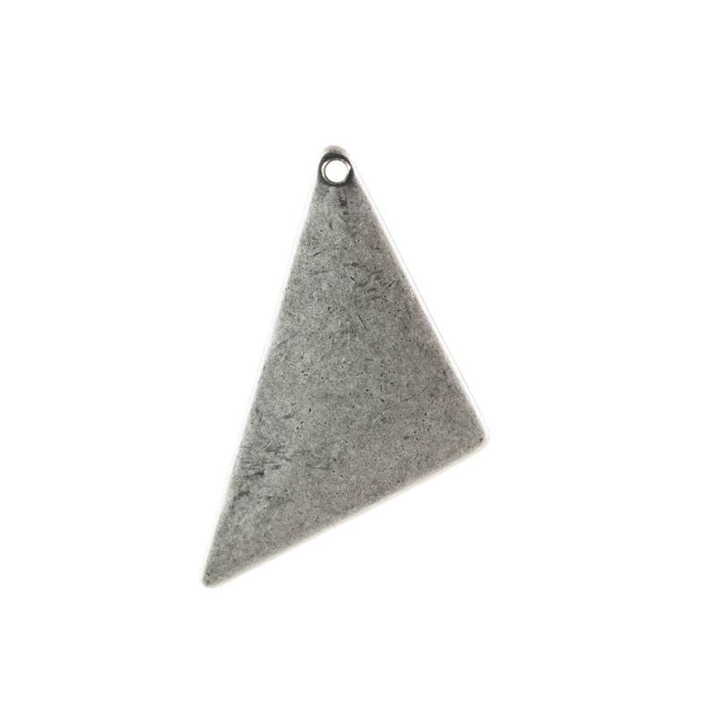 mtl447E 1 Hole Sterling Silver Ox Triangle Pendant Findings 25x12 8