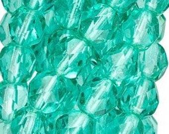 6mm Light Teal Czech Faceted Firepolish Glass Beads (25)