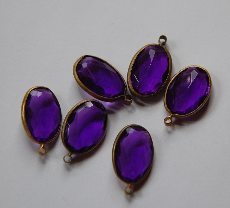 6 chr161 Brass Channel Set Faceted Oval Purple Acrylic Drops Charms