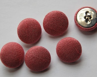 Vintage Dusty Rose Silk Buttons 15mm btn002H