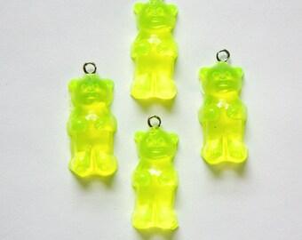 Neon Yellow Gummi Bear Charms Drops chr152D