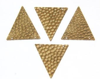 2 Hole Raw Brass Geometric Hammered Triangle Pendant Charm (6) mtl369B