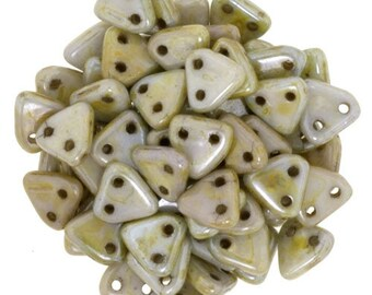 Opaque Ultra Luster Green CzechMates Triangle 2 Hole Glass Beads 6mm (50)