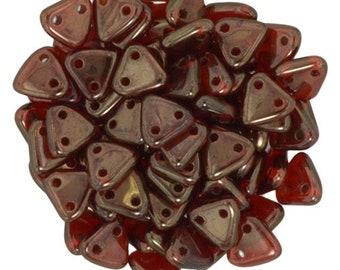Silversheen Ruby CzechMates Triangle 2 Hole Glass Beads 6mm (50)