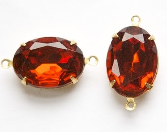 Vintage Faceted Madeira Topaz Glass Stone in 2 Loop Brass Setting ovl003E2