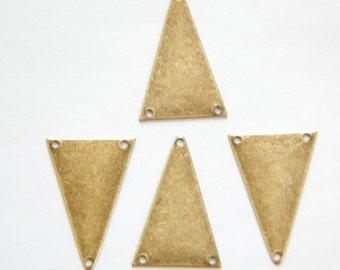 3 Hole Brass Ox Geometric Narrow Triangle Pendant Charm (6) mtl511B