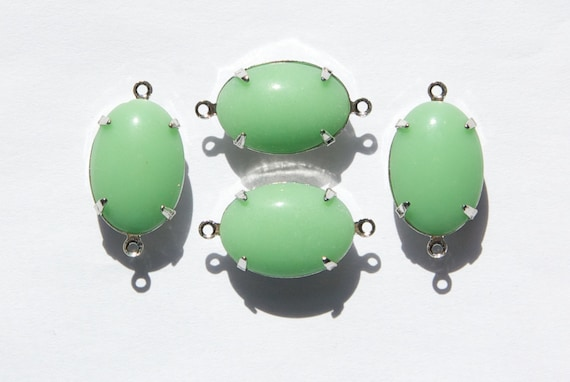 Vintage Opaque Light Green Stone 2 Loop Silver Plated Setting   Etsy Pictures