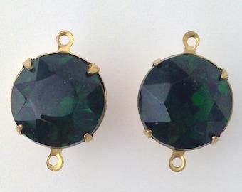 Vintage Turmalin Faceted Glass Stones 2 Loop Brass Settings 15mm rnd012M2