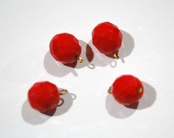 1 Loop Red Faceted Glass Drops Czech Beads 12mm (4) drp081A