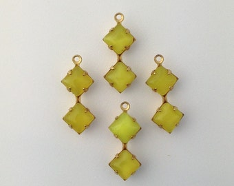 Yellow Moonglow Square Glass Stones in Double 1 Loop Brass Setting 6mm (4) squ001LL3