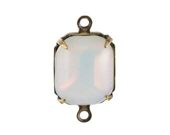 Vintage White Opal Stones in 2 Loop Brass Ox Setting 12mm x 10mm (4) oct006U2