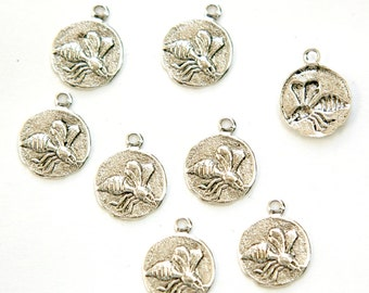 Antiqued Silver Plated Flying Bee Charm Drops with Loop (8) chr051F DISCONTINUED