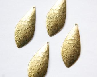 1 Hole Raw Brass Crinkle Pattern Dapped Teardrop Pendant Drops (6) mtl355A