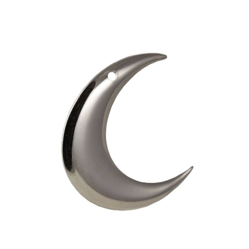 mtl110S 1 Hole Silver Plated ONLY RIGHT Facing Crescent Pendant Hoops 4