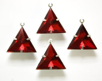 Ruby Acrylic Triangle in 1 Loop Silver Setting Pendant Drop tri003D