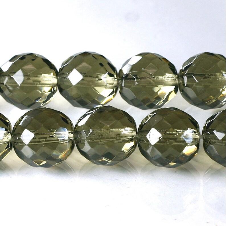 14mm Black Diamond Czech Firepolish Faceted Glass Beads 4