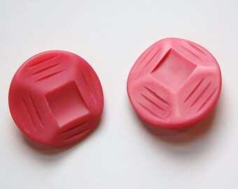 Vintage Etched Geometric Rose Pink Plastic Buttons btn030