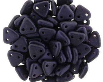 Metallic Suede Dark Purple CzechMates Triangle 2 Hole Glass Beads 6mm (50)