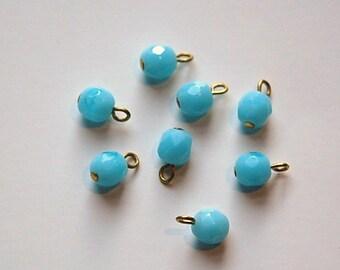 1 Loop Light Blue Faceted Glass Drops Czech Beads 6mm (8) drp084B