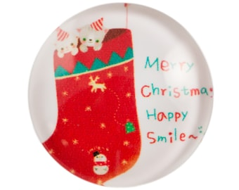 Merry Christmas Cats in Stocking Glass Cabochon 15mm (4) cab875A