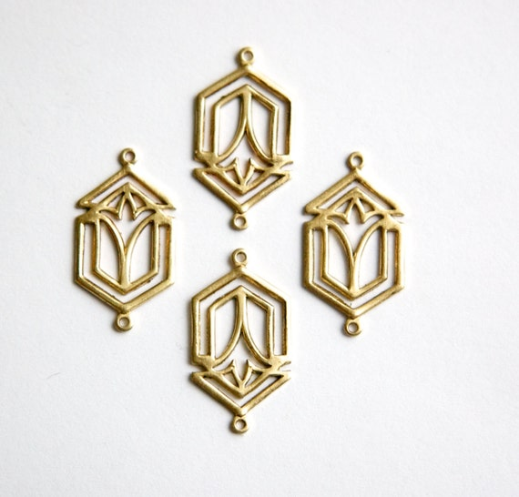 2 Loop Raw Brass Deco Layered Connector Pendants  35x15mm mtl493A 2