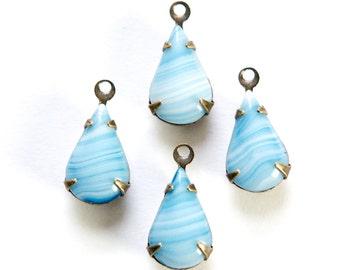 Vintage White with  Blue Glass Teardrop Stone 1 Loop Brass Ox Setting par016N