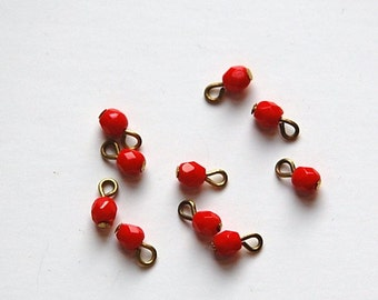 1 Loop Red Faceted Glass Drops Czech Beads 4mm drp085A