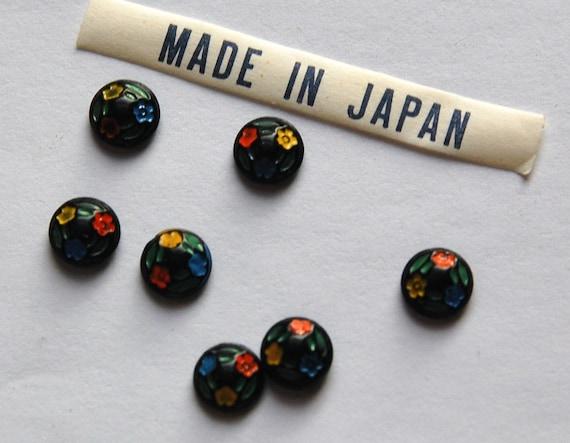 Vintage Tiny Orange Retro Design Cabochons Japan 7mm cab419K 8