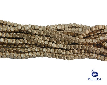 Preciosa Matte Gold Glass Czech Pellet Beads 4x6mm (50) czh027D