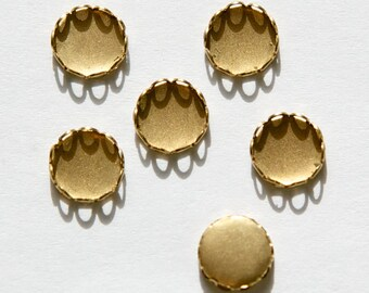 Raw Brass Lace Edge Fillgree Setting 7mm Round (12) stn001V