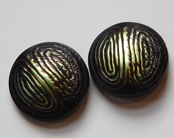 Vintage Touch of Green Gold and Black Metallic Plastic Buttons LG btn019F