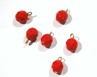 1 Loop Red Faceted Glass Drops Czech Beads 8mm (6) drp083A