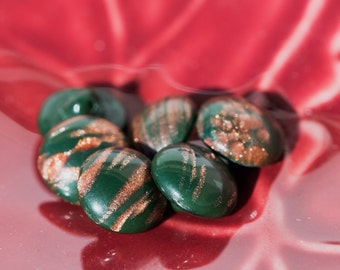 Vintage Green with Goldstone Round Glass Buttons btn014E
