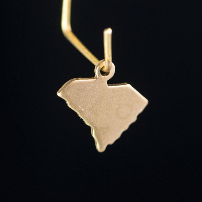 chr228V Raw Brass  South Carolina Blank State Charm Drops 6